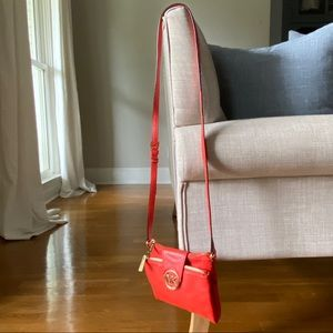 Michael Kors - Pebbled Red Leather Gold Crossbody